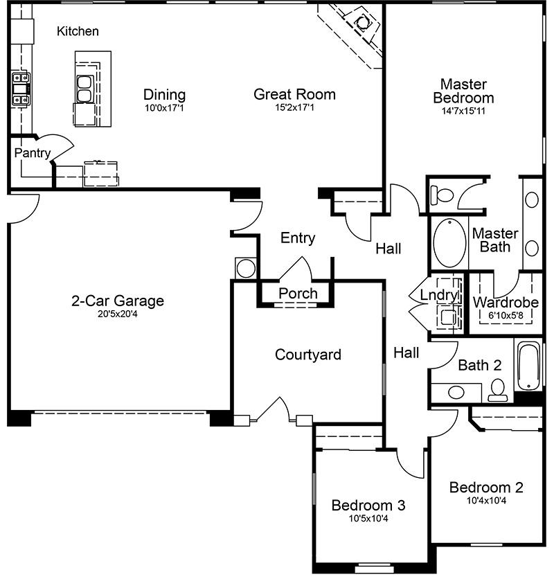 Jeremy Willer Construction – 3 Bedroom 2 Bath 2 Car Garage Floor Plans
